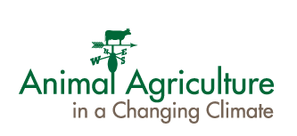 logo for animal agriculture climate change which includes a weather vane with cow and top